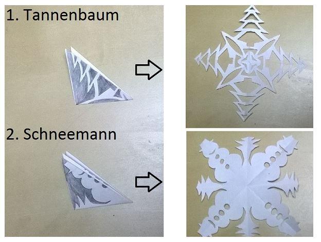 Auf diese Weise lassen sich weitere Formen wie Tannenbäume oder Schneemänner basteln. © Miriam Rathje