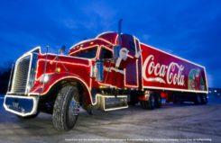 Coca Cola Truck bei Anfahrt